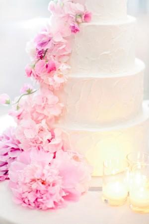 Elegant Pink Floral Wedding Cake