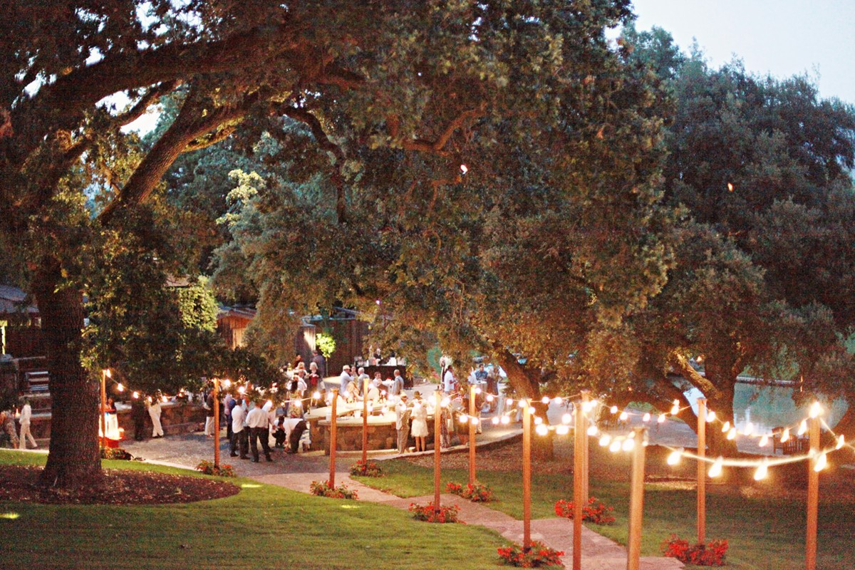 backyard wedding reception evening evening wedding reception
