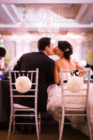 Floral Pomander Decorated Wedding Chairs