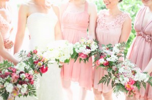 Garden Inspired Pink Bridesmaids Bouquets