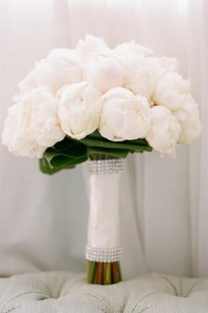 Glamorous White Peony Wedding Bouquet