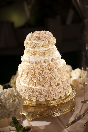 Gold Sugar Rosette Wedding Cake