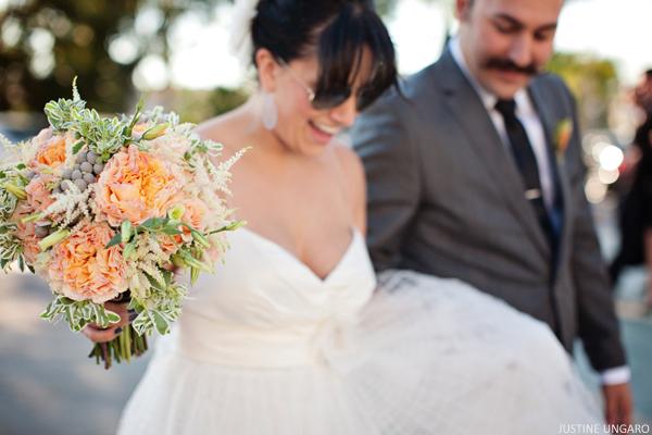 Melon and Grey Wedding Bouquet