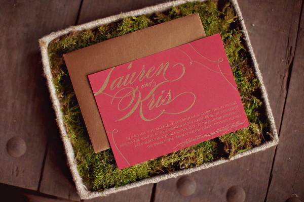 Moss Lined Wedding Invitation