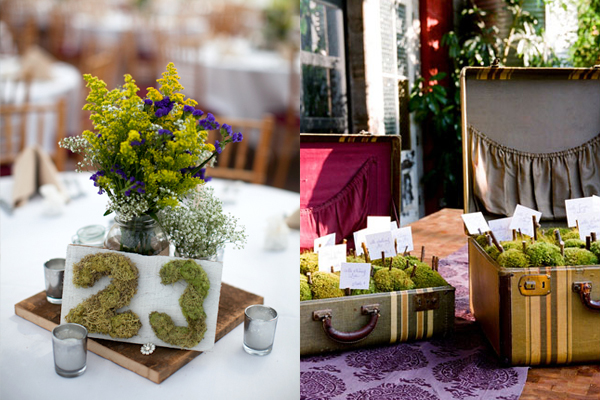 Natural Moss Wedding Reception Decor