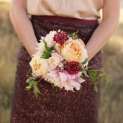 Peach Rose Cranberry Scabiosa Pink Dahlia Bouquet