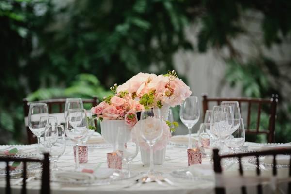 Peach and Pink Wedding Centerpiece