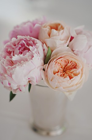 Pink Peonies and Peach Rose Centerpiece