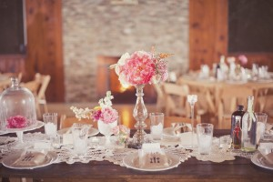 Pink Shabby Chic Country Wedding Tablescape
