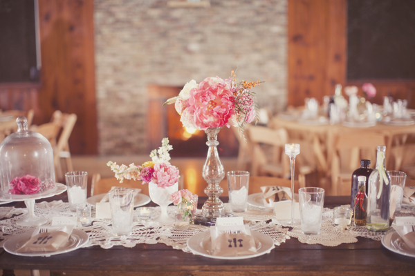 Pink Shabby Chic Country Wedding Tablescape - Elizabeth Anne Designs ...