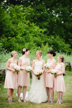 Short Blush Bridesmaids Dresses