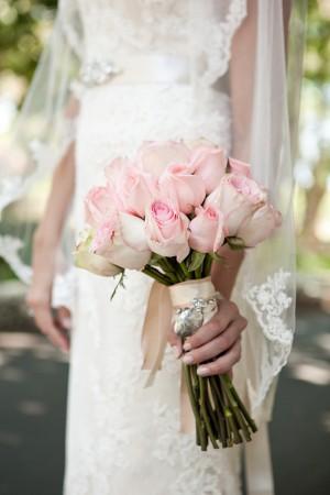 Soft Pink Rose Wedding Bouquet
