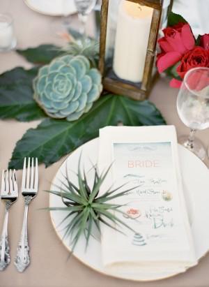 Succulents and Watercolor Wedding Menu