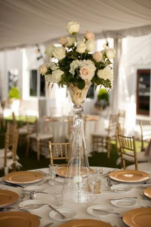 Tall Gold Pink and Ivory Centerpiece