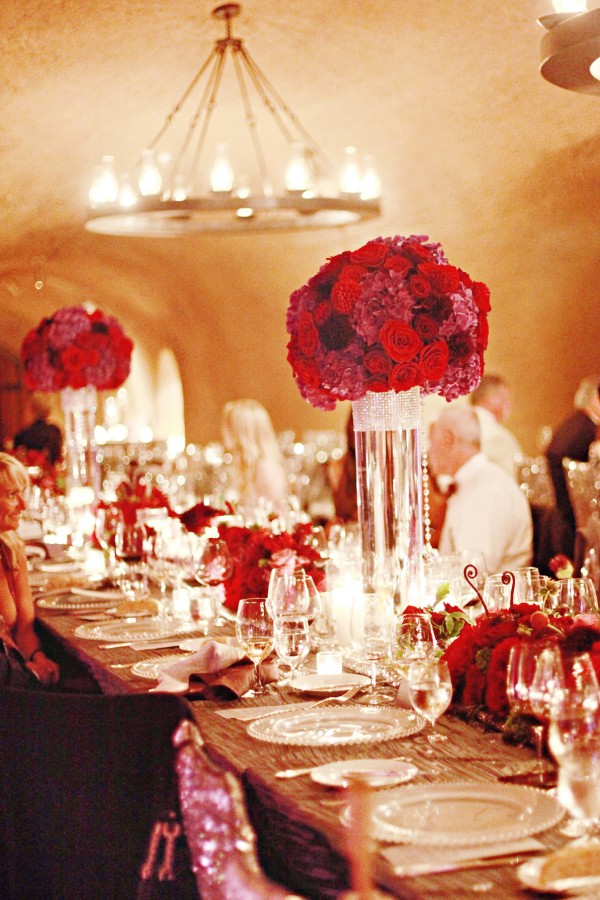 Tall red and purple wedding centerpieces elizabeth anne