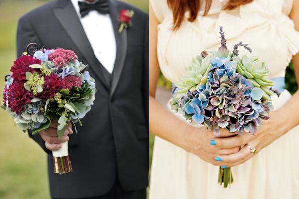 Warm Blue Hydrangea Bouquets