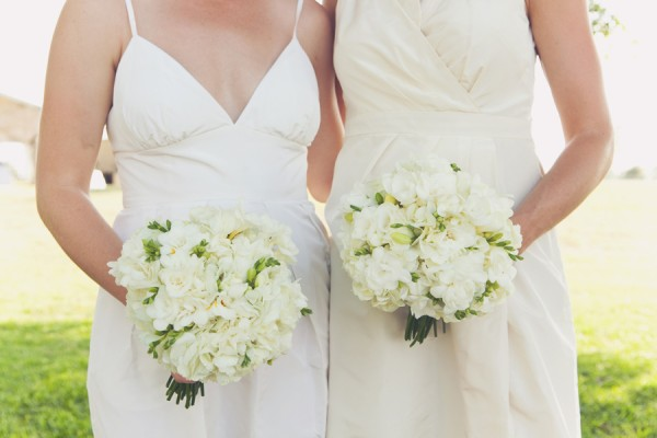 White Bridesmaids Dresses and Bouquets