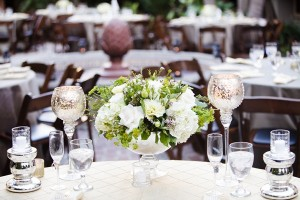 White Hydrangea and Lisianthus and Wax Flower Centerpiece