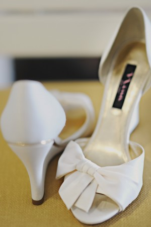 White Peep Toe Wedge Wedding Shoes