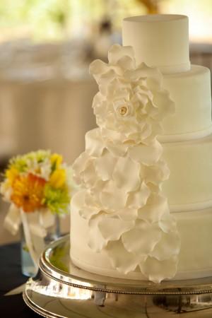White Ruffled Flower Wedding Cake