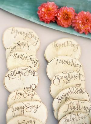 Wood Slice Wedding Escort Cards