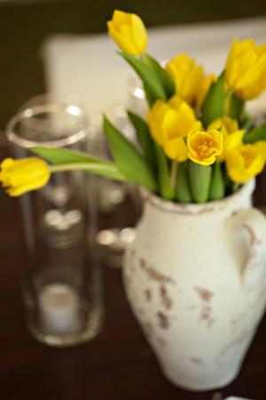 Yellow Tulip Wedding Centerpiece