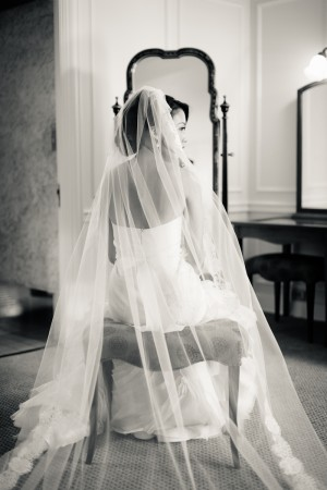 Black and White Bridal Portrait Erin Hearts Court