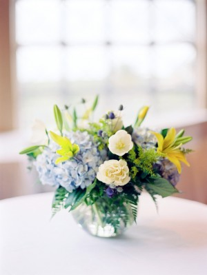 Blue Yellow and Green Centerpiece