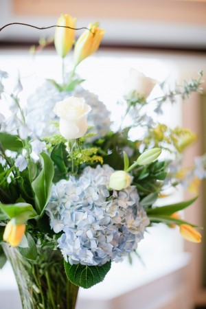 Blue and Yellow Wedding Centerpiece