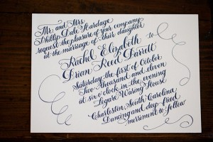Calligraphy Navy And White Invitation