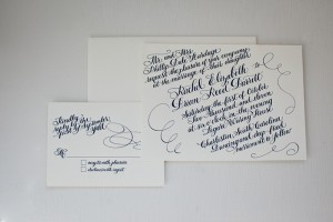 Calligraphy Navy And White Invitation Suite