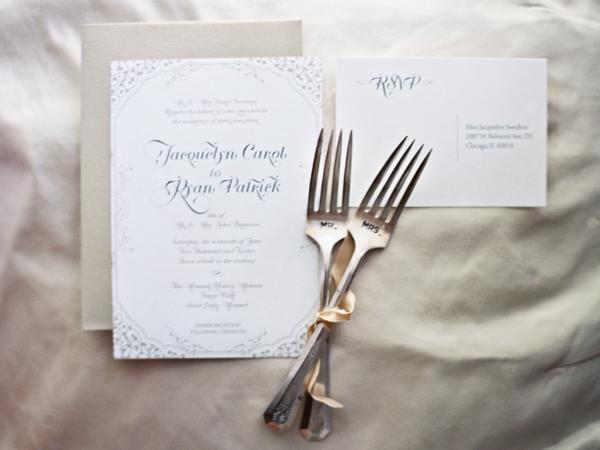Classic Gray And White Wedding Invitations