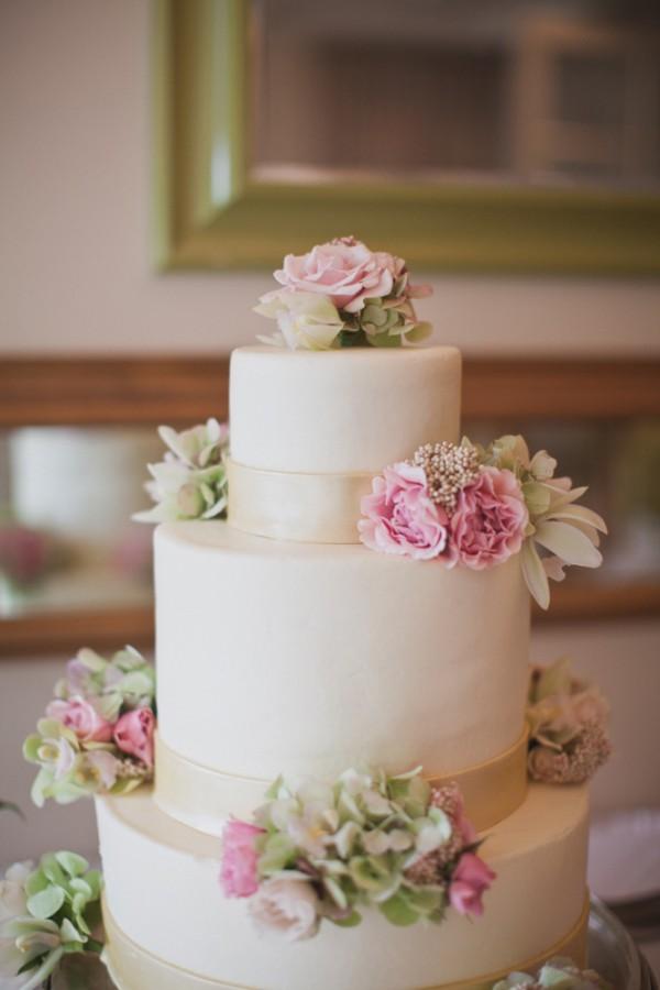 Classic Pink Green Tiered Wedding Cake - Elizabeth Anne Designs: The ...
