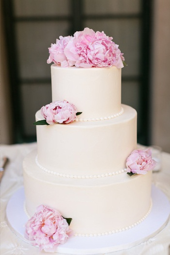 Clic Wedding Cake With Pink Peonies