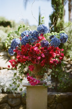 Colorful Pink Blue Wedding Flowers
