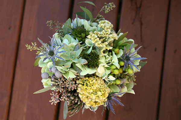 Cool Succulent and Thistle Bouquet
