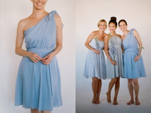 Cornflower Blue Bridesmaids Dresses Little Borrowed Dress 1