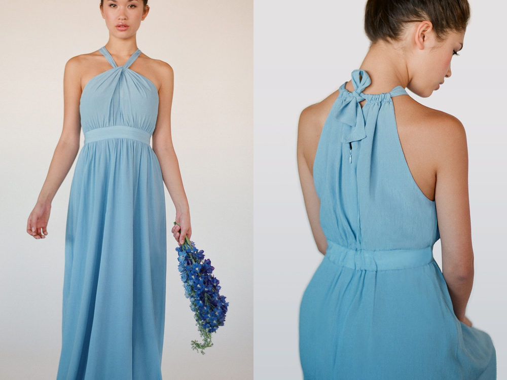 Cornflower colored bridesmaid dresses