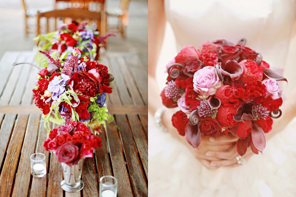 Dramatic Red Wedding Flowers