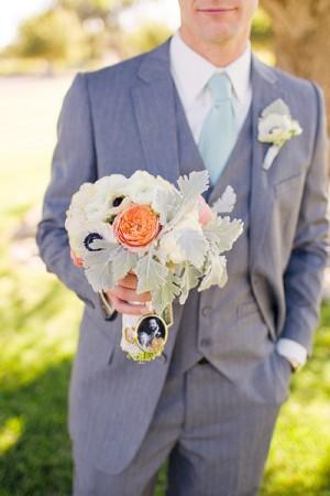 Dusty Miller Anemone Peony Bouquet