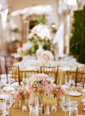 Elegant Gold Pink Centerpieces