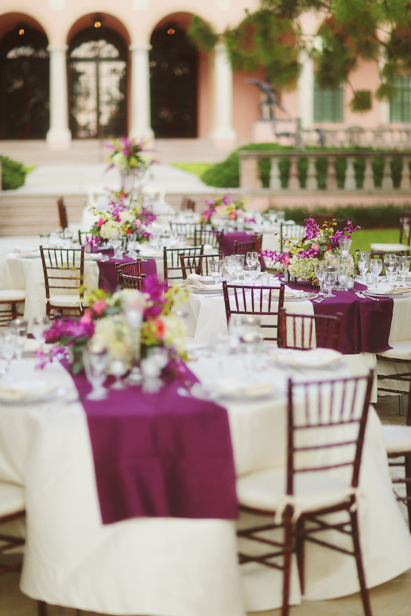 elegant purple white wedding reception