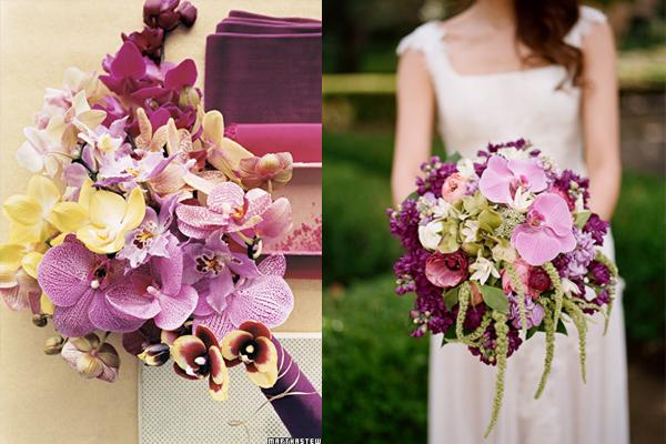 Fuchsia and Purple Wedding Bouquets