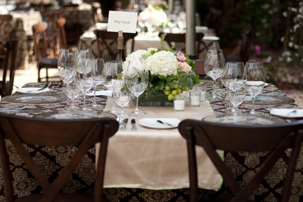 Hydrangea and Grape Wedding Centerpiece