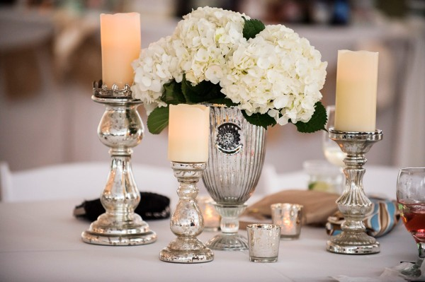 Hydrangeas and Candles in Mercury Glass