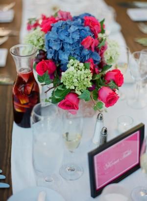 Magenta Rose Blue Hydrangea Centerpiece