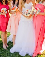 Mismatched Peach Pink Bridesmaids