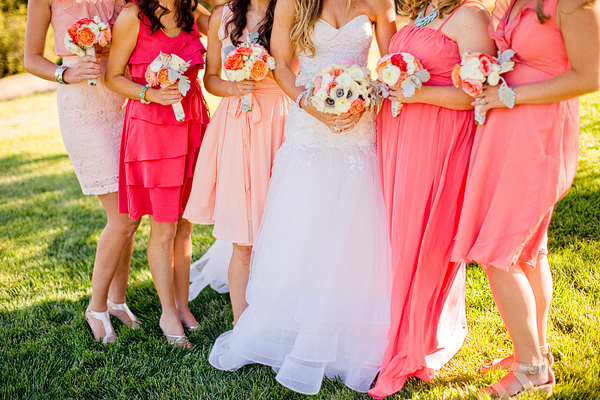 Mismatched Peach Pink Bridesmaids