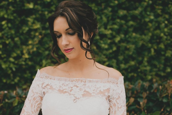 Open Shoulder Lace Wedding Gown