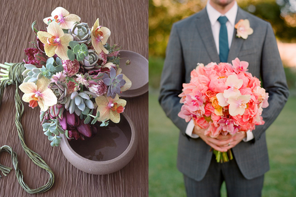 Orchid and Succulent Bouquets